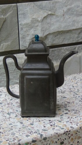 ANTIQUE 19c CHINESE PEWTER YIXING TEAPOT WITH PEACKOK BLUE GLASS FINIAL