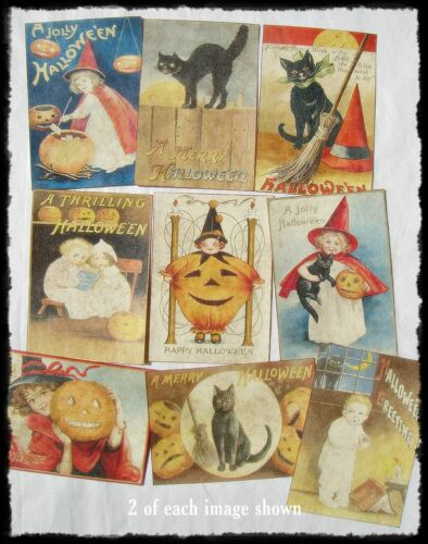 Set of 18 VICTORIAN VINTAGE-LOOK HALLOWEEN LABELS Holiday Decor Primitive/Grungy