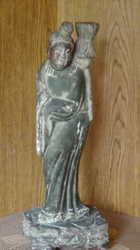 """ANTIQUE 18C CHINESE PAINTED WOOD  TEMPLE QUAN-YIN STATUE , 22""""H"""