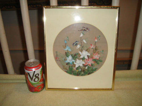 J Cheng Painting On Silk Fabric Signed Stamped Butterflies Flowers