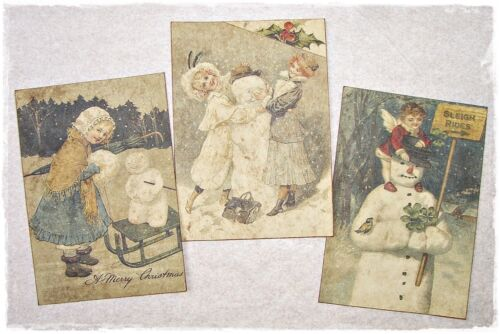 Set of 18 VINTAGE LOOK CHRISTMAS LABELS VICTORIAN SNOWMEN Primitive/Grungy