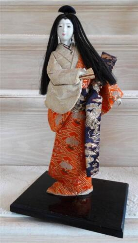 Beautiful Antique Japanese Geisha in Kimono Doll Signed 15""
