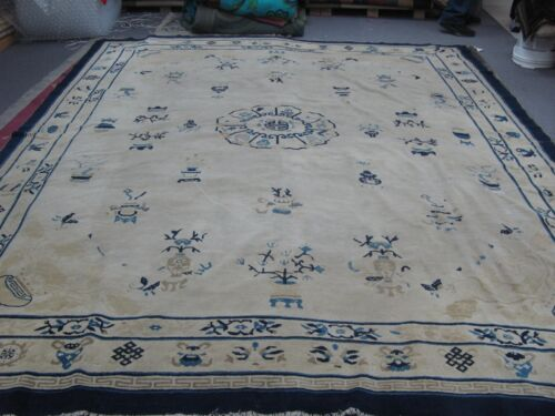 Antique Chinese Ningsia Pekin Hand Knotted Wool Oriental Rug 9' x 11'3 Ningxia