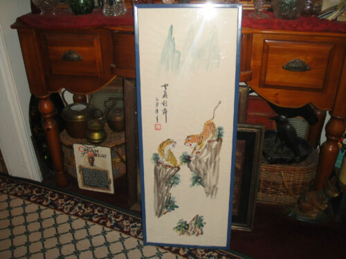 Superb Chinese Or Japanese Painting Of Tigers-Signed & Stamped-Large Painting