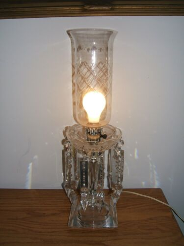 "Vintage Crystal Electrified Lusters Lamp w/ 7"" Long Rossettes & Prisms"