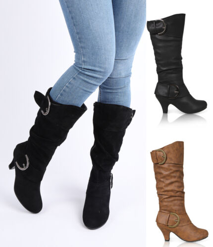WOMENS LADIES MID HEEL WINTER TWIN BUCKLE ZIP CALF KNEE RIDING SHOES BOOTS SIZE  <br/> Best Quality Winter Boots.SOLD NEARLY 3000 !!!!