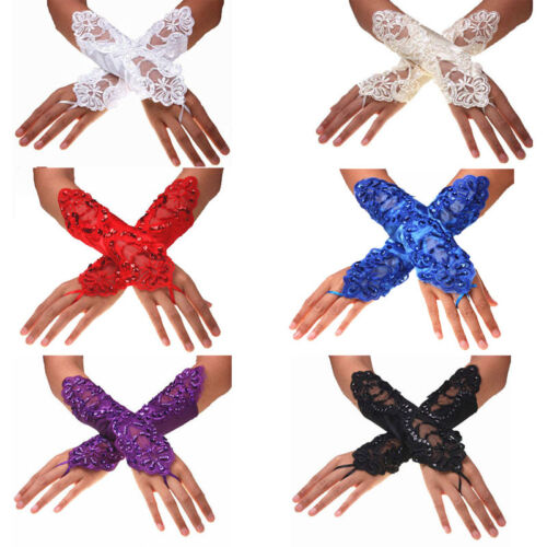 New 1Pair Bride Wedding Party Evening Dress Fingerless Lace Satin Bridal Gloves