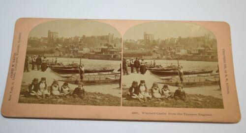 Antique Windsor Castle From Thames River England Stereoview Photo Kilburn Rare