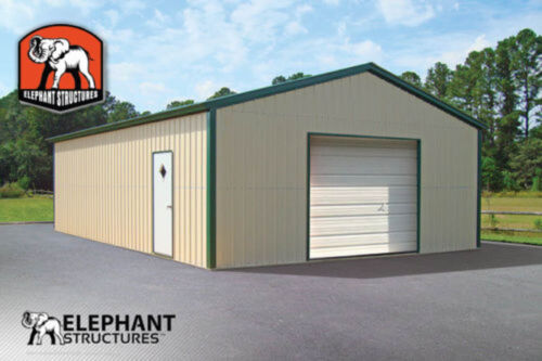 Metal Garage Building Kit - 20' x 26' x 9' for $5940 <br/> Metal Garage Building Kit by Elephant Structures