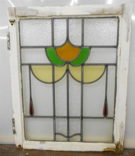 "MID SIZED OLD ENGLISH LEADED STAINED GLASS WINDOW Floral design 20.5"" x 26"""
