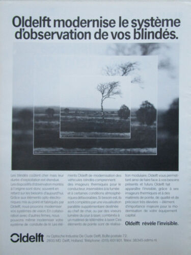 9/85 PUB OLDELFT DELFT OBSERVATION IMAGE THERMIQUE BLINDE TANK PANZER FRENCH AD