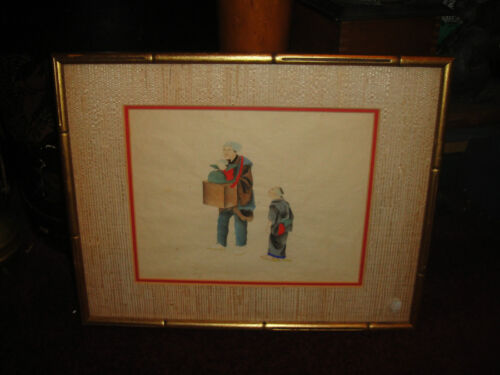 Superb Chinese Or Japanese Drawing Artwork-Man Carrying Baby-Child On Side