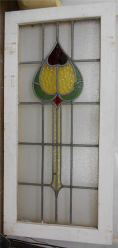"""LARGE OLD ENGLISH LEADED STAINED GLASS WINDOW Unique Floral Heart 20"""" x 41.75"""""""