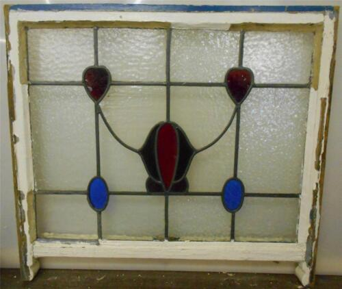 """LARGE OLD ENGLISH LEADED STAINED GLASS SASH Floral & Hearts design  28"""" x 23"""""""