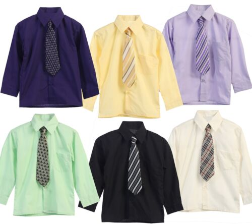 Long Sleeve Dress Shirt Tie Toddler Boy Solid Button Down Party Formal 2t 3t 4t
