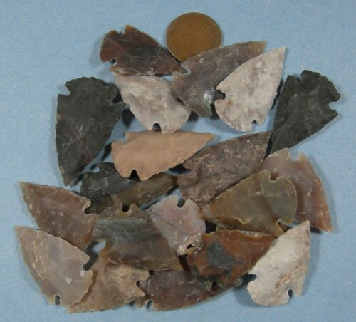 ARROWHEAD SPEARHEAD LOT COLLECTION & OLD VINTAGE 1907 INDIANHEAD CENT