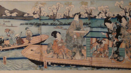 ANTIQUE19C JAPANESE ORIGINAL UTAGAWA KUNISADA TRIPTYCH WOODBLOCK ON PAPER