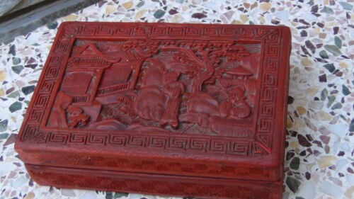 "ANTIQUE CHINESE 19C RED LACQUER CINNABAR BOX""IMMORTALS NEAR A PALACE"""