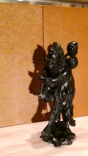 ANTIQUE 19C CHINESE IRONWOOD HAND CARVED IMMORTAL WITH PITCH STATUE,SIGNED #2