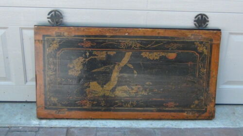 ANTIQUE 19c CHINESE PAINTED HANGING CHEST PANEL,PLAQUE IN METAL FRAME