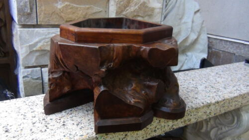 ANTIQUE MEIJI CHINESE BURL WOOD HAND CARVED LARGE PLANTER ,HOUSE WARMER