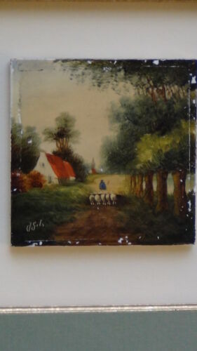 ANTIQUE 19 C DUTCH DELFT PORCELAIN PAINTED TILE FRAMED,SIGNED J.GITS