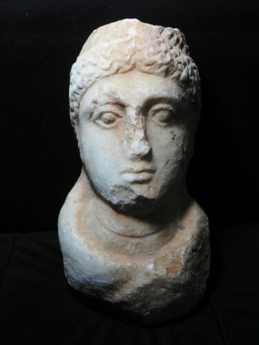 ZURQIEH - ROMAN PROVINCIAL , EASTERN EMPIRE , MARBLE HEAD OF A FEMALE , 1ST-3RD
