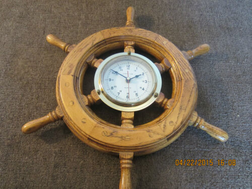 NAUTICAL, OAK SHIP'S WHEEL, WITH BRASS CLOCK
