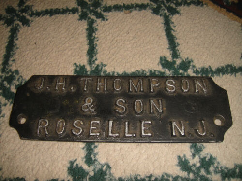 Antique Steel Name Plate Wall Plaque JH Thompson & Son Roselle New Jersey RARE