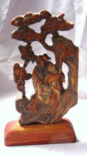 ANTIQUE 19c CHINESE WOOD CARVED PAINTED CARVED PIERCED TEMPLE IMMORTALELEMENT