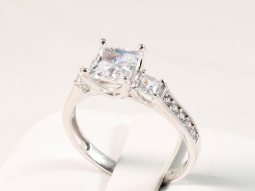 1.80 CT PRINCESS BRILLIANT CUT  ENGAGEMENT WEDDING RING SOLID 14K WHITE GOLD
