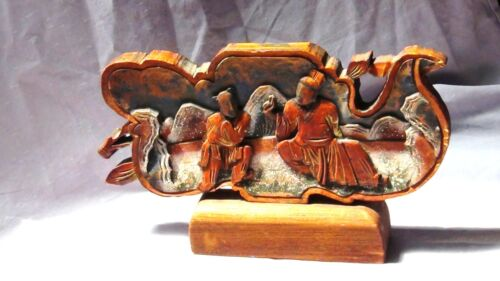 ANTIQUE 19c CHINESE WOOD CARVED PAINTED CARVED PIERCED TEMPLE SCHOLARSELEMENT