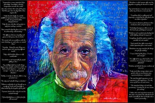 EINSTEIN QUOTES - DAVID LLOYD GLOVER ART POSTER - 24 x 36 ALBERT 790
