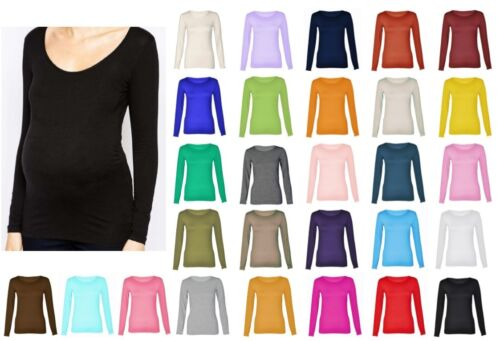 Womens Maternity Long Sleeve Scoop Neck T Shirt Top UK 8-30