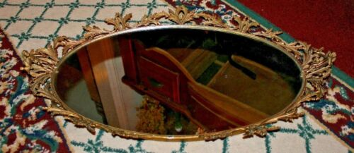 Antique Victorian Art Deco Vanity Tray Perfume Mirror Angels Cherubs Floral Gold