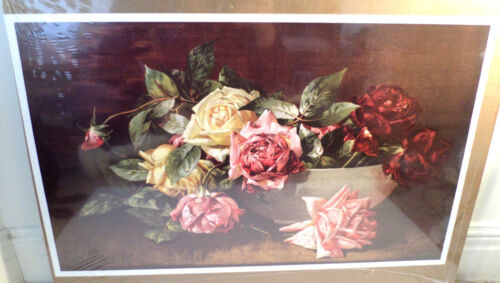 """Victorian Lithograph Print Picture """"Bowl Of Roses"""" Still Life 16X23"""