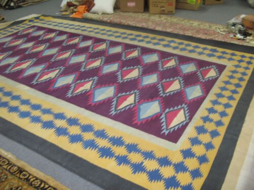 Vintage Jail Cotton Dhurrie Hand Made Kilim Rug 9' x 13'-5 Sad Ranj Carpet