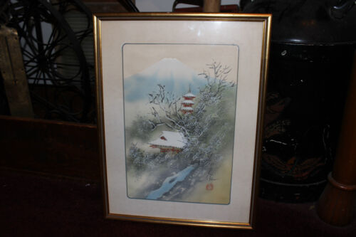 Superb Chinese Japanese Painting Silk Fabric-Village In Mountain-Signed Stamped