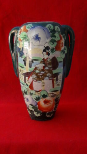 ANTIQUE JAPANESE PORCELAIN HAND PAINTED NIPPON MORIAGE TWO HANDLED VASE ,MARKED