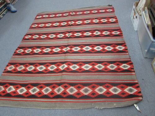 "Antique Native American Indian Navajo Weaving Wool Blanket   5'3x6'5 = 63""x77"""