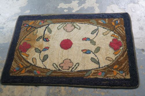 Primitive Antique American Hand Made Hooked Rug Wool on Burlap - 2'-2 x 3'-4