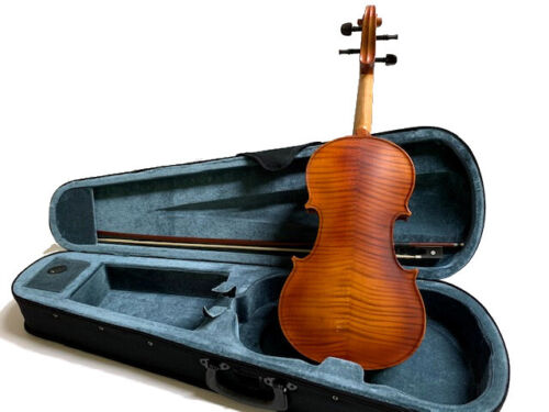 VIOLINS-BANKRUPTCY- NEW ADULT 4/4 FLAMED SOLID CONCERT VIOLIN/FIDDLE-GERMAN <br/> EBONY FITTINGS, BEAUTIFUL TONE, CASE,BOW, ROSIN INCLUDE
