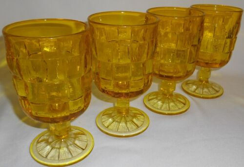 Set (4) Mid Century VIKING GLASS Yellow Color ASHLEY PATTERN 12 oz Water Goblets