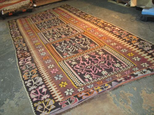 Antique Hand Woven Wool Karabagh Kurdish Turkish Oushak  Kilim Rug 6'6 x 12'6