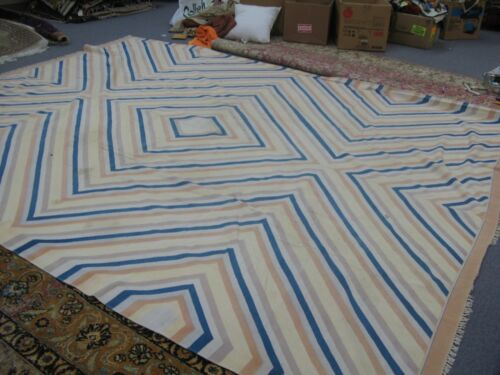 Vintage Afghan Prison Jail Cotton Hand Made Kilim Rug 9' x 12' Sad Ranj carpet