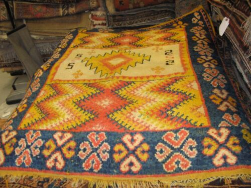 Vintage Moroccan Rabat Rug 3'-6 x 4'-6 Hand Knotted Berber Wool Mid Century