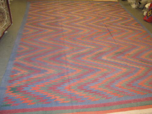 Vintage European Hand Woven Cotton Kilim Rug Dhurry Carpet 9'-9 x 13'-6