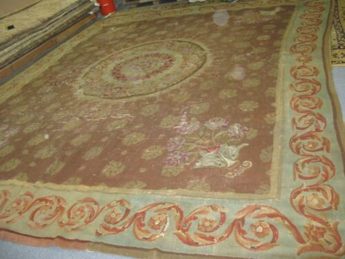 13' x 13' ANTIQUE FRENCH AUBUSSON HAND STITCHED WOOL RUG CARPET REPAIRMAN DREAM