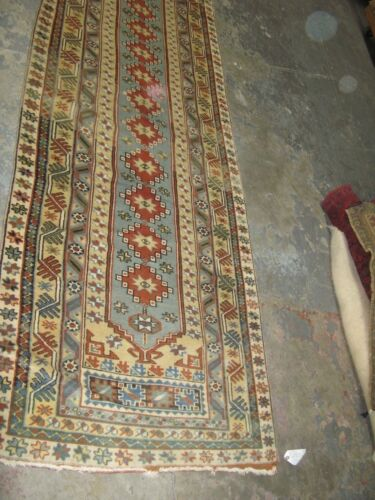 Semi Antique Oushak Turkish Runner Hand Knotted Wool Rug 3' x 15'