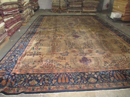 Antique Distressed  Indo Tabriz Larestan Rug Hand Knotted Wool 11'9 x 17'6 Worn